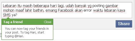 facebook status tag